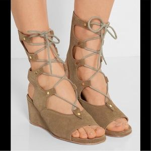 Chloe Foster Wedge Gladiator Lace Up Sandals EUC